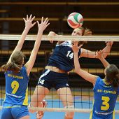 KAPOSVAR, HUNGARY - JANUARY 14: Rebeka Rak (L) blocks the ball at the Hungarian NB I. League woman v