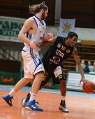 KAPOSVAR, HUNGARY - JANUARY 22: Bam Doyne (R) in action at a Hungarian National Championship basketb