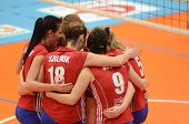 KAPOSVAR, HUNGARY - FEBRUARY 4: Szolnok players celebrate at the Hungarian NB I. League woman volley