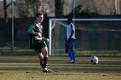 KAPOSVAR, HUNGARY - FEBRUARY 8: Unidentified player in action at a friendly soccer game Kaposvar vs.