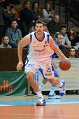 KAPOSVAR, HUNGARY - FEBRUARY 26: Daniel Werner in action at a Hungarian National Championship basket