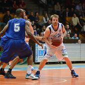 KAPOSVAR, HUNGARY - FEBRUARY 26: Joshua Wilson (R) in action at a Hungarian National Championship ba