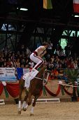 KAPOSVAR, HUNGARY - AUGUST 12: Dennis Peiler (GER) in action at the Vaulting World Championship Final on August 12, 2007 in Kaposvar, Hungary.