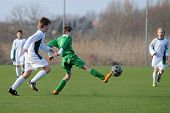 KAPOSVAR, HUNGARY - MARCH 9: Attila Berki (in green) in action at the Hungarian National Championshi