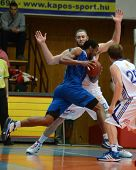 KAPOSVAR, HUNGARY - MARCH 19: Unidentified players in action at a Hungarian National Championship ba