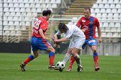 KAPOSVAR, HUNGARY - APRIL 1: Krisztian Lisztes (L) in action at a Hungarian National Championship so