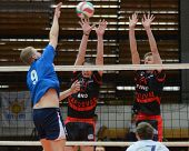 KAPOSVAR, HUNGARY - APRIL 3: Krisztian Csoma (R) in action a Hungarian National Championship volleyb