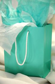pic of green-blue  - Gift bag on gift table at party - JPG