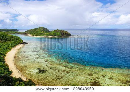 poster of View Of Drawaqa Island Coastline And Nanuya Balavu Island, Yasawa Islands, Fiji. This Archipelago Co