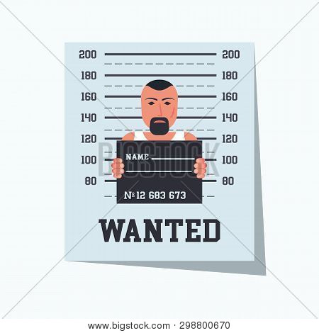 poster of Wanted Criminal. Placard Template With Arrested Photo. Missing Announce. Wanted Man. Vector Illustra