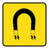 Strong Magnetic Field Sign Drawing By Illustration.strong Magnetic Field Icon In Yellow Background D poster