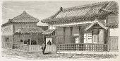 Satsuma palace old view, Japan. Created by Therond after watercolor of Roussin, published on Le Tour