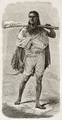 Abyssinian rifleman old engraved portrait. Created by Bayard after Lejean, published on Le Tour du M
