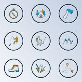 Tourism Icons Colored Line Set With Destination, Compass, Swiss Knife And Other Navigation Elements. poster