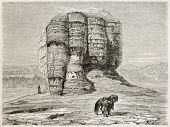 Aqur Kuf old view, Mesopotamia (nowadays Iraq). Created by Neuville after Lejean, published on Le To