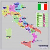 Map Of Italy With Infographic. Colorful Illustration With Map Of Italy. Italy Map With Italian Major poster