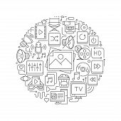 Multimedia Line Icons In Round Shape Isolated Vector Illustration. Round Design Element With Multime poster