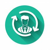 White Human Resources Icon Isolated With Long Shadow. Concept Of Human Resources Management, Profess poster
