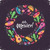Hola Mexico - Hello Mexico - Poster  In Circle Shape. Mexican Culture Attributes Collection. Guitar, poster