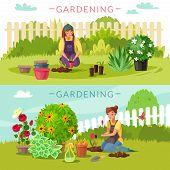 Gardening Cartoon Horizontal Banners. Set Of Two Horizontal Banners On The Garden Theme Cartoon Styl poster