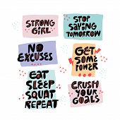 Inspirational Slogan Hand Drawn Lettering Set. Motivating Handwritten Phrases, Quotes Flat Sketch Ty poster
