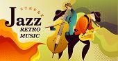 Classic Music Festival Jazz Rock Concert, Jazz Gangs. Horizontal Vector Banner Illustration. Banner poster