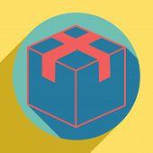 Box Sign Illustration. Sunset Orange Icon With Llapis Lazuli Shadow Inside Medium Aquamarine Circle  poster