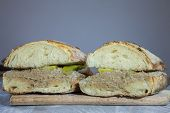 Liver Pate Sanwdich In A French Baguette Sliced In Two, Made Of Duck And Chicken Pate De Foie With S poster