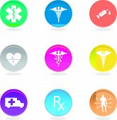 pic of medevac  - Medical symbols icons in color circles isolated on white - JPG