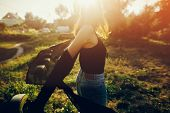 Stylish Hipster Girl Having Fun In Sunny Park In Amazing Sunbeams, Atmospheric Moment. Fashionable C poster