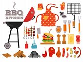 Barbecue Grill Cartoon Elements Set On White Background. Cookout Bbq Party Icons. Set Of Barbecue Ch poster