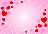 Empty Frame And Red Pink Heart Shape For Template Banner Valentines Card Pink Background, Many Heart poster