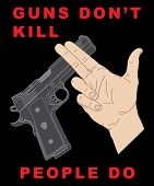 picture of crossed pistols  - Hand crossing handgun and anti - JPG