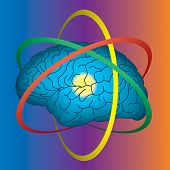 Atomic brain, science and intellect concept