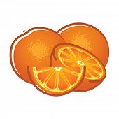 Orange fruits and slices.