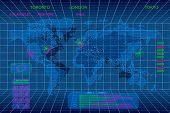 Interactive 3d digital world map concept