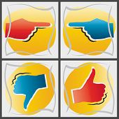 Concepts of pointing hands, thumbs up and down, EPS 8, CMYK