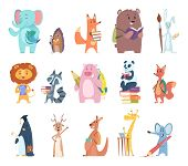 Back To School Animals. Young Funny Zoo Characters School Items Elephant Rabbit Bear Fox Squirrel Ba poster