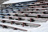Closeup Bandy Stadium Stands Under Snow