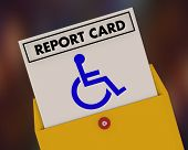 Wheelchair Disabled Person Symbol Disability Report Card Test Exam Result 3d Illustration poster