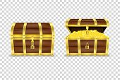 Vector 3d Realistic Closed And Opened Retro Vintage Antique Old Treasure Wooden Pirate Dower Chest W poster