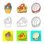 Vector Illustration Of Confectionery And Culinary Symbol. Collection Of Confectionery And Product Ve poster
