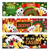 Casino Gambling Games, Wheel Of Fortune Roulette, Poker Dices And Playing Cards. Vector Casino Banne poster