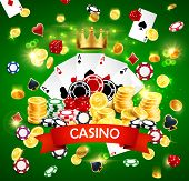 Casino Poker Poster With Joker Golden Crown, Sparkling Golden Coins Win Splash And Gamble Dice. Vect poster