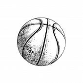 Vector Drawing Of Basketball Ball In Black Color, Isolated On White Background. Graphic Illustration poster