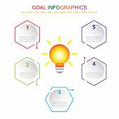 Vector Illustration Business  Infographics Six Optionsr Success Template. Modern Infographic With Go poster