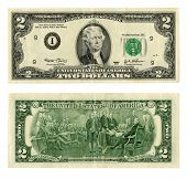 Front And Back Of A United States Two Dollar Bill Isolated On A White Background