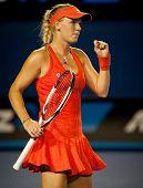 MELBOURNE - JANUARY 22: Caroline Wozniacki of Denmark in her fourth round win over Jelena Jankovic of Serbia at the 2012 Australian Open on January 22, 2012 in Melbourne, Australia.