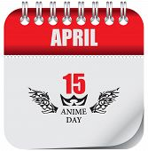 Calendar Page Anime Day. Calendar Sheet With A Reminder Of The Date Anime Day poster