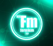 Fermium Chemical Element. Sign With Atomic Number And Atomic Weight. Chemical Element Of Periodic Ta poster